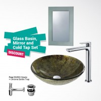 Evans Glass Basin Full Set with Mirror EVAB1607M