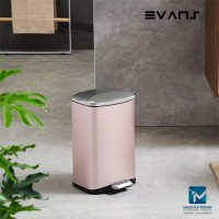 Evans Stainless Steel Dustbin 6 Liter Rectangular Garbage Trash Can with Step Foot Pedal