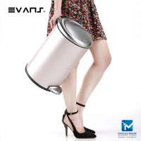 Evans Stainless Steel Dustbin 12 Liter Rectangle & Round Shape Garbage Trash Can with Step Foot Pedal