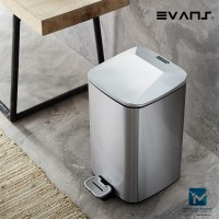 Evans Stainless Steel Dustbin 12 Liter Rectangular & Square Shape Garbage Trash Can with Step Foot Pedal