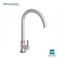 Johnson Suisse Santino ½ inch deck-mounted sink tap with swivel spout, stainless steel