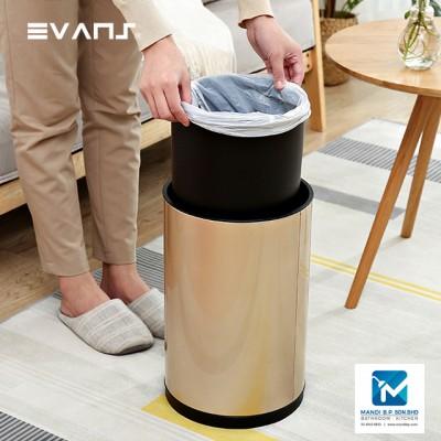 Evans Rounded Shape Sensor Stainless Steel Dustbin12L